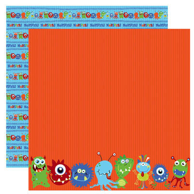 Reminisce - Monsters Collection - 12 x 12 Double Sided Paper - Monster Parade