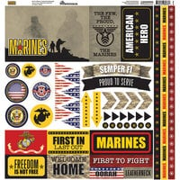 Reminisce - Marines Collection - 12 x 12 Cardstock Stickers - Elements