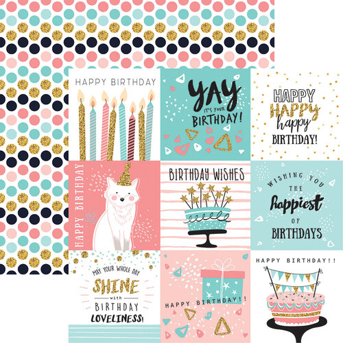 Reminisce - Make a Wish Collection - 12 x 12 Double Sided Paper - Let's Celebrate