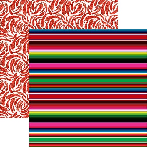 Reminisce - Mexico Collection - 12 x 12 Double Sided Paper - Mexican Blanket