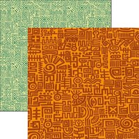 Reminisce - Mexico Collection - 12 x 12 Double Sided Paper - Orange Doodle
