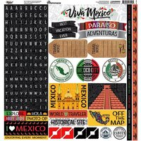 Reminisce - Mexico Collection - 12 x 12 Cardstock Sticker Sheet - Alpha