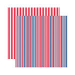 Reminisce - Made in the USA Collection - 12 x 12 Double Sided Paper - Celebration Stripe