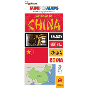 Reminisce - Mini Maps Collection - Epoxy Embellishment Stickers - China, CLEARANCE