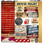 Reminisce - Movie Night Collection - 12 x 12 Cardstock Stickers - Alphabet
