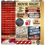 Reminisce - Movie Night Collection - 12 x 12 Cardstock Stickers - Alphabet