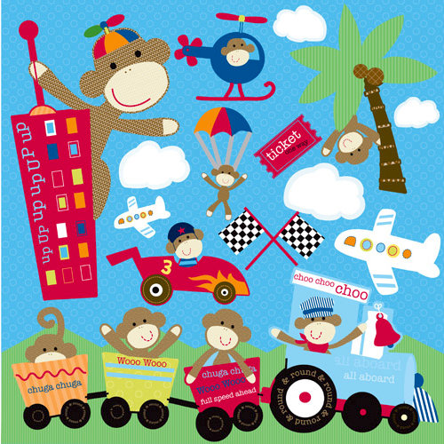 Reminisce - Monkey Adventures Collection - 12 x 12 Cardstock Stickers - Racing Icon