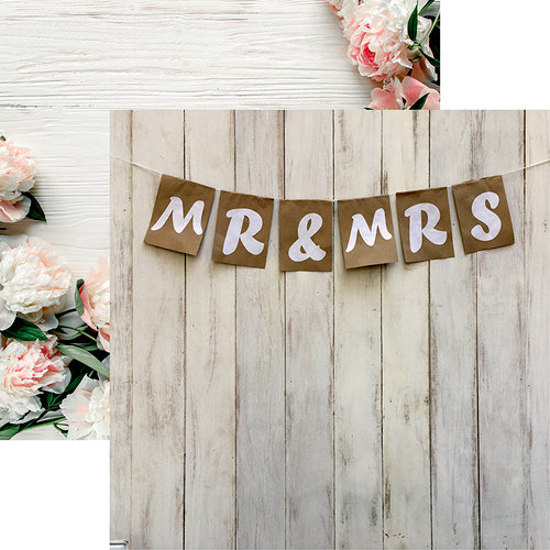 Reminisce - Modern Wedding Collection - 12 x 12 Double Sided Paper - Mr and Mrs