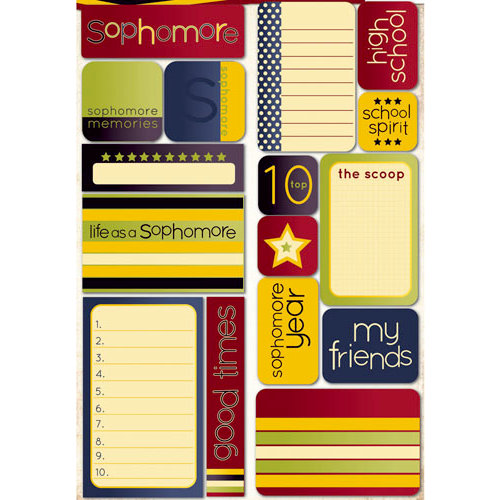Reminisce - Making the Grade Collection - Die Cut Cardstock Stickers - Sophomore Quote