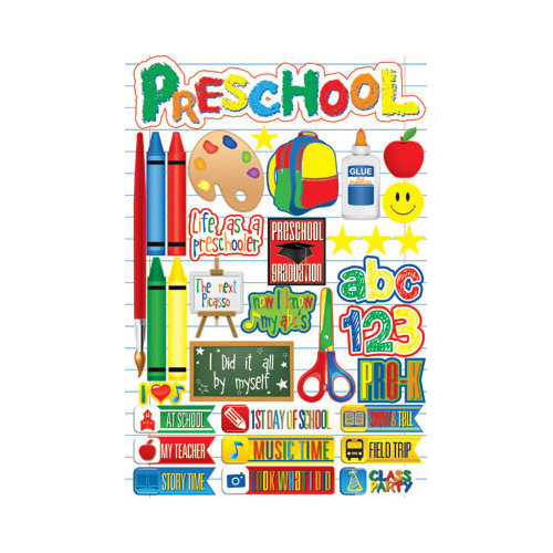 Reminisce - Making the Grade Collection - 3 Dimensional Die Cut Stickers - Preschool 2