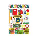 Reminisce - Making the Grade Collection - 3 Dimensional Die Cut Stickers - Second Grade 2