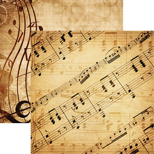 Reminisce - Musicality Collection - 12 x 12 Double Sided Paper - Sheet Music