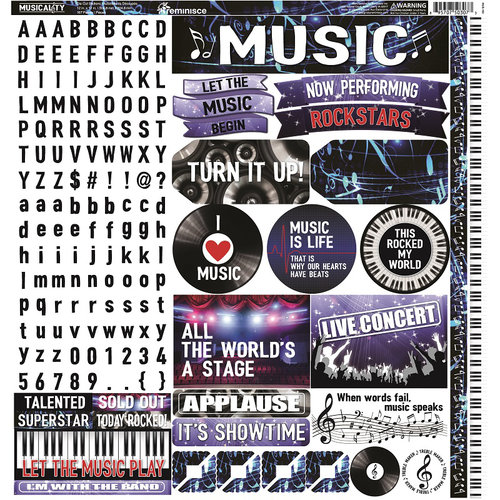 Reminisce - Musicality Collection - 12 x 12 Cardstock Stickers - Combo
