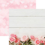 Reminisce - Made with Love Collection - 12 x 12 Double Sided Paper - Pink Roses