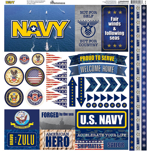 Reminisce - Navy Collection - 12 x 12 Cardstock Stickers - Elements