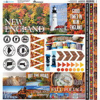 Reminisce - 12 x 12 Cardstock Stickers - New England