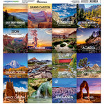 Reminisce - National Parks Collection - 12 x 12 Cardstock Stickers - Square