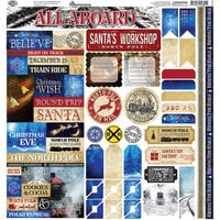Reminisce - North Pole Express Collection - 12 x 12 Cardstock Stickers - Combo
