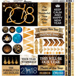 Reminisce - New Year's 2018 Collection - 12 x 12 Cardstock Stickers - Elements