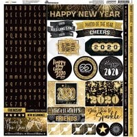 Reminisce - New Years 2020 Collection - 12 x 12 Cardstock Sticker Sheet - Alphas