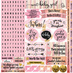 Reminisce - Oh Baby Girl Collection - 12 x 12 Cardstock Stickers - Alphabet