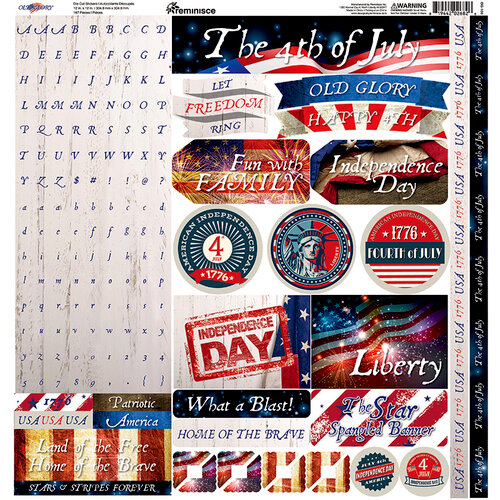 Reminisce - Old Glory Collection - 12 x 12 Alpha Cardstock Stickers