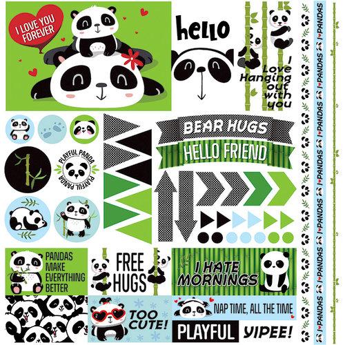 Reminisce - Panda-monium Collection - 12 x 12 Cardstock Stickers - Elements