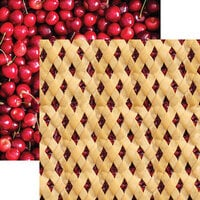 Reminisce - Pie Time Collection - 12 x 12 Double Sided Paper - Cherry Lattice