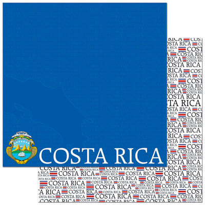 Reminisce - Passports Collection - 12 x 12 Double Sided Paper - Costa Rica