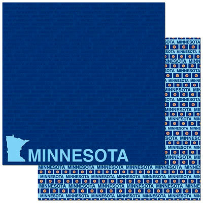 Reminisce - Passports Collection - 12 x 12 Double Sided Paper - Minnesota