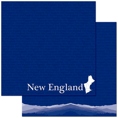 Reminisce - Passports Collection - 12 x 12 Double Sided Paper - New England