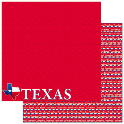 Reminisce - Passports Collection - 12 x 12 Double Sided Paper - Texas
