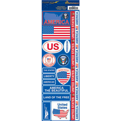 Reminisce - Passports Collection - Cardstock Stickers - America