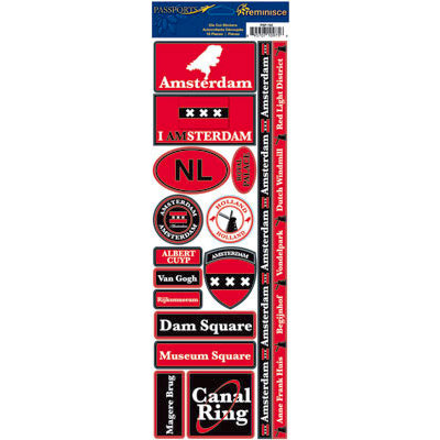 Reminisce - Passports Collection - Cardstock Stickers - Amsterdam