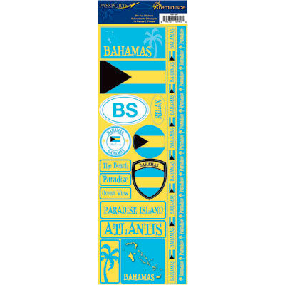 Reminisce - Passports Collection - Cardstock Stickers - Bahamas