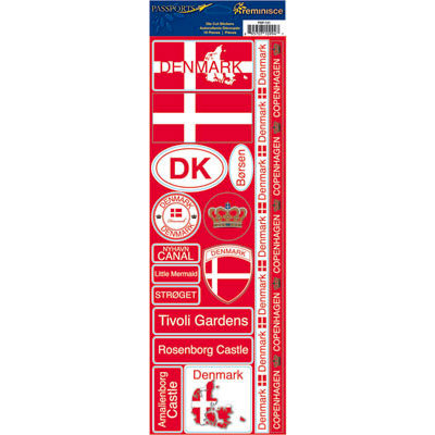 Reminisce - Passports Collection - Cardstock Stickers - Denmark
