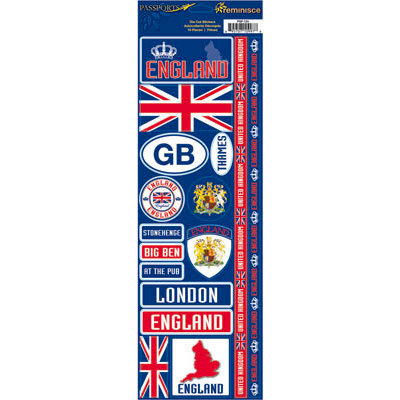 Reminisce - Passports Collection - Cardstock Stickers - England