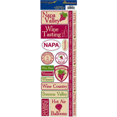 Reminisce - Passports Collection - Cardstock Stickers - Napa Valley
