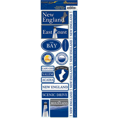 Reminisce - Passports Collection - Cardstock Stickers - New England