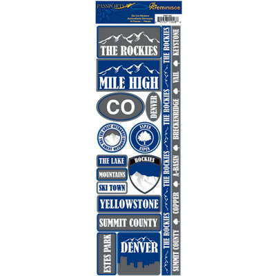 Reminisce - Passports Collection - Cardstock Stickers - Rocky Mountains