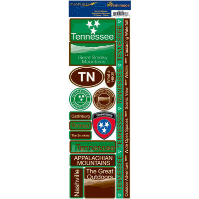 Reminisce - Passports Collection - Cardstock Stickers - Tennessee