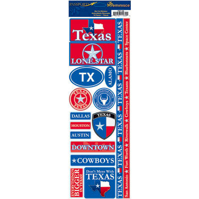 Reminisce - Passports Collection - Cardstock Stickers - Texas