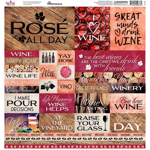 Reminisce - Rose All Day Collection - 12 x 12 Box Stickers