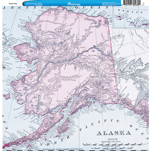 Reminisce - Customs Collection - 12 x 12 Single Sided Paper - Alaskan Map
