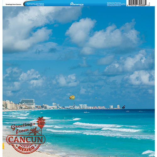 Reminisce - Customs Collection - 12 x 12 Single Sided Paper - Greetings from Cancun