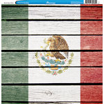 Reminisce - Customs Collection - 12 x 12 Single Sided Paper - Mexico Flag on Wood