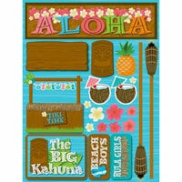 Reminisce - Luau Collection - 3 Dimensional Die Cut Stickers - Luau 2