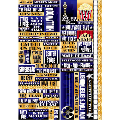 Reminisce - Hollywood Collection - Die Cut Cardstock Stickers - Quote