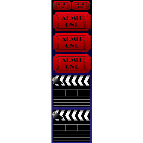 Reminisce - Hollywood Collection - Chipboard Stickers - Ticket