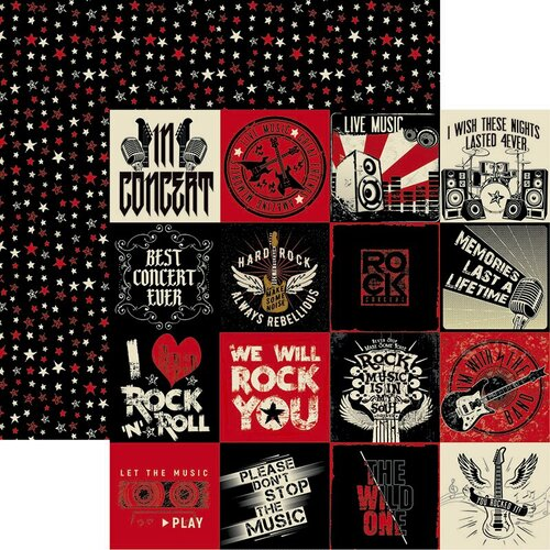 Reminisce - Rockstar Collection - 12 x 12 Double Sided Paper - Let's Rock